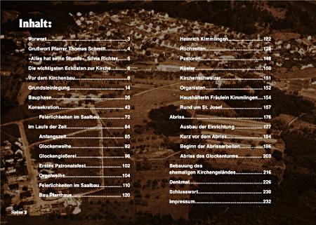 Bildband Mettlach,Josefkirche Seite 2, Inhaltsverzeichnis